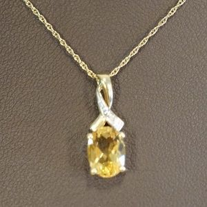 14KY Gold Genuine Topaz & Diamond Pendant W/Chain